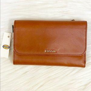 Fossil Memoir Flap Wallet *Flaw* Brown Leather